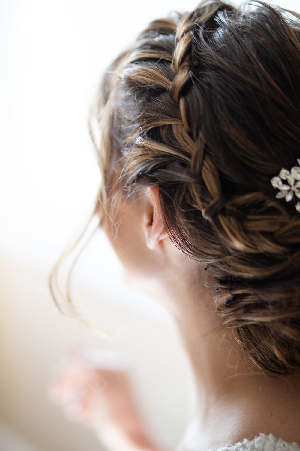 Connecticut bride with braided hair