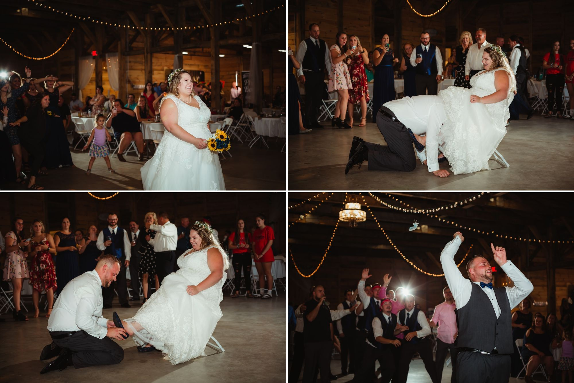 Collage of the bouquet and garter tosses.