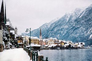 Hallstatt streets in Winter