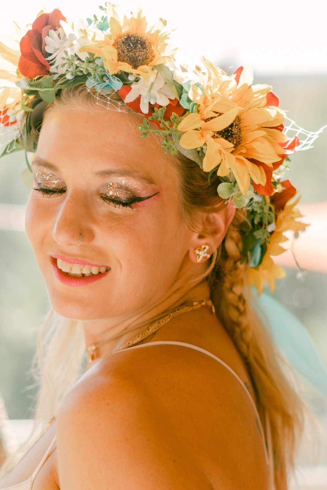 Detail of Bride in her floral crown