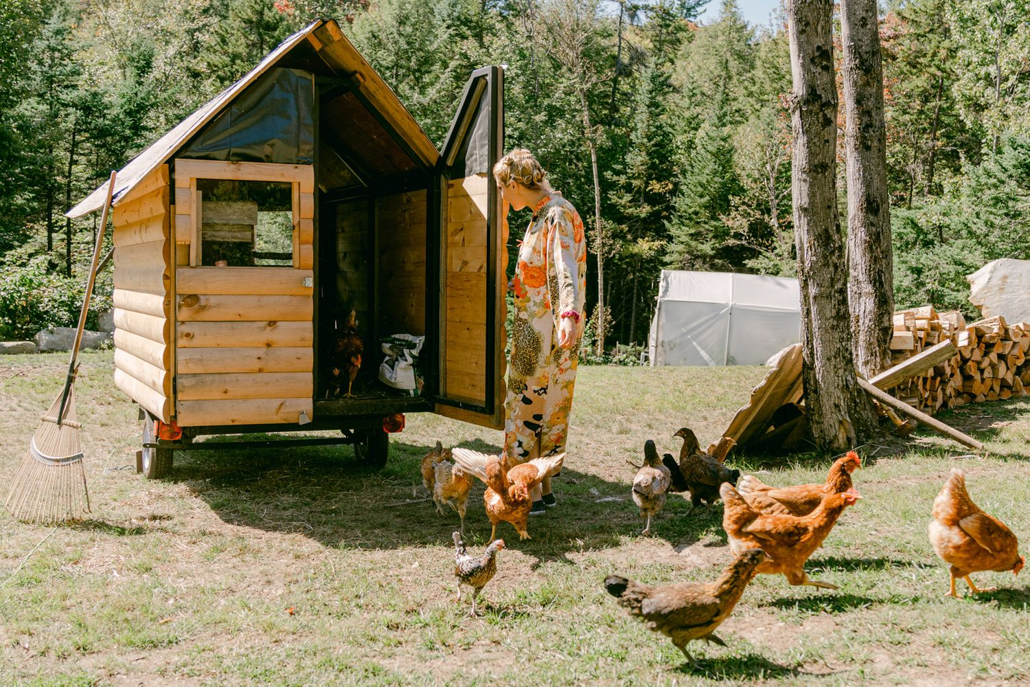 Bride to be letting the chickens out at Vermont Farm