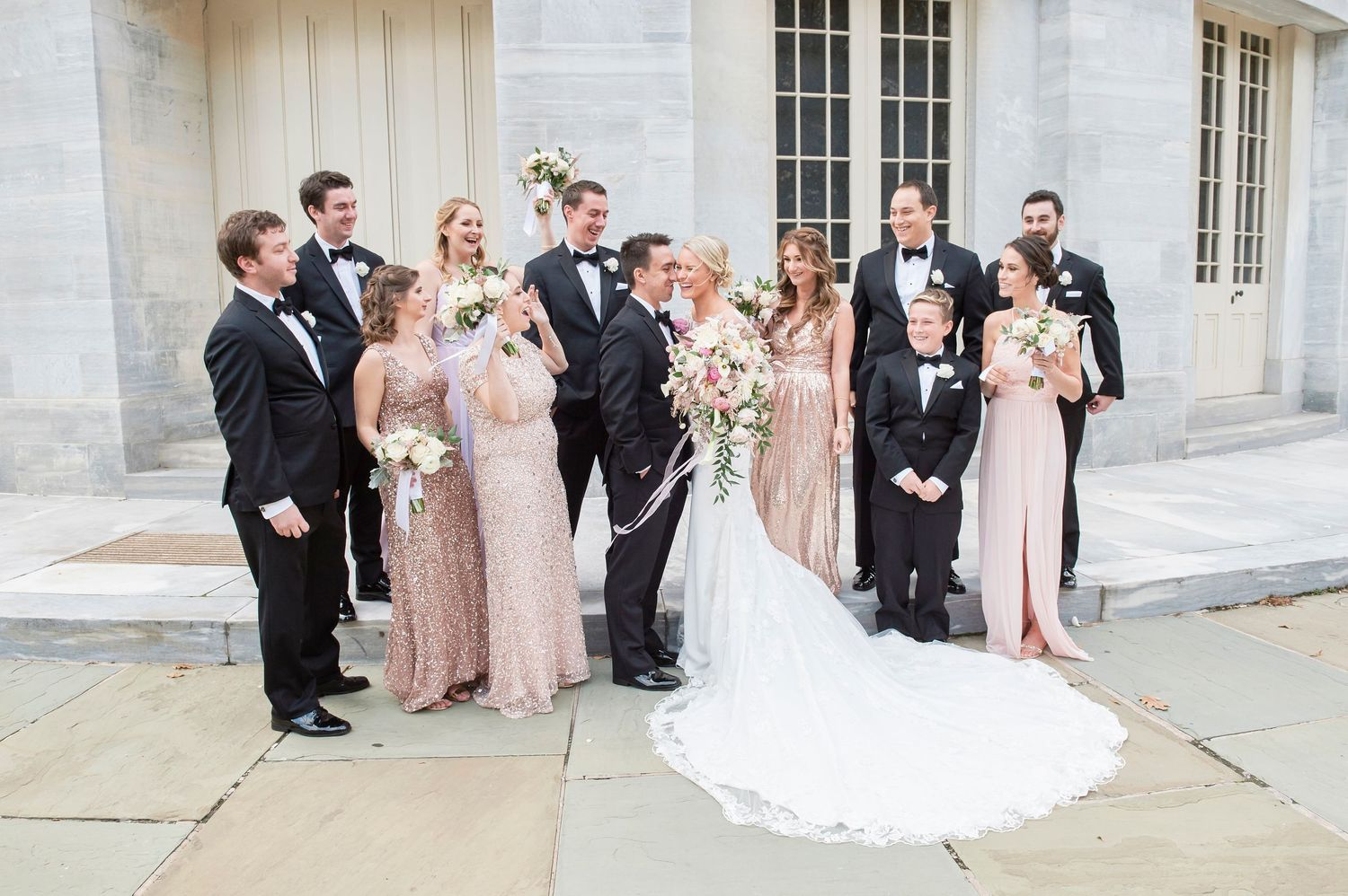bridal party photo at the Merchant Exchange building in philadelphia wedding photo