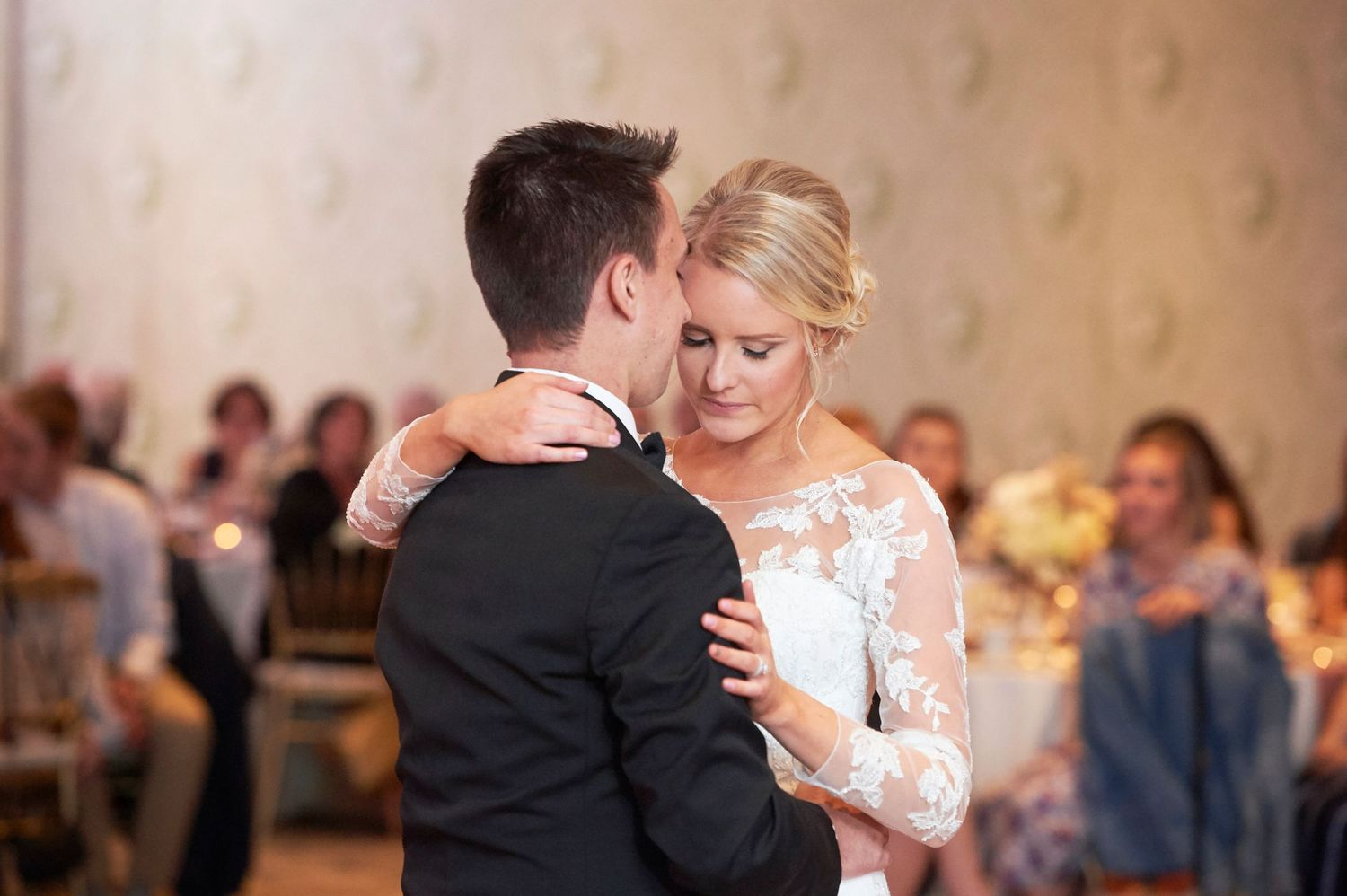 bride and groom's first dance at Bucks Hotel wedding photo