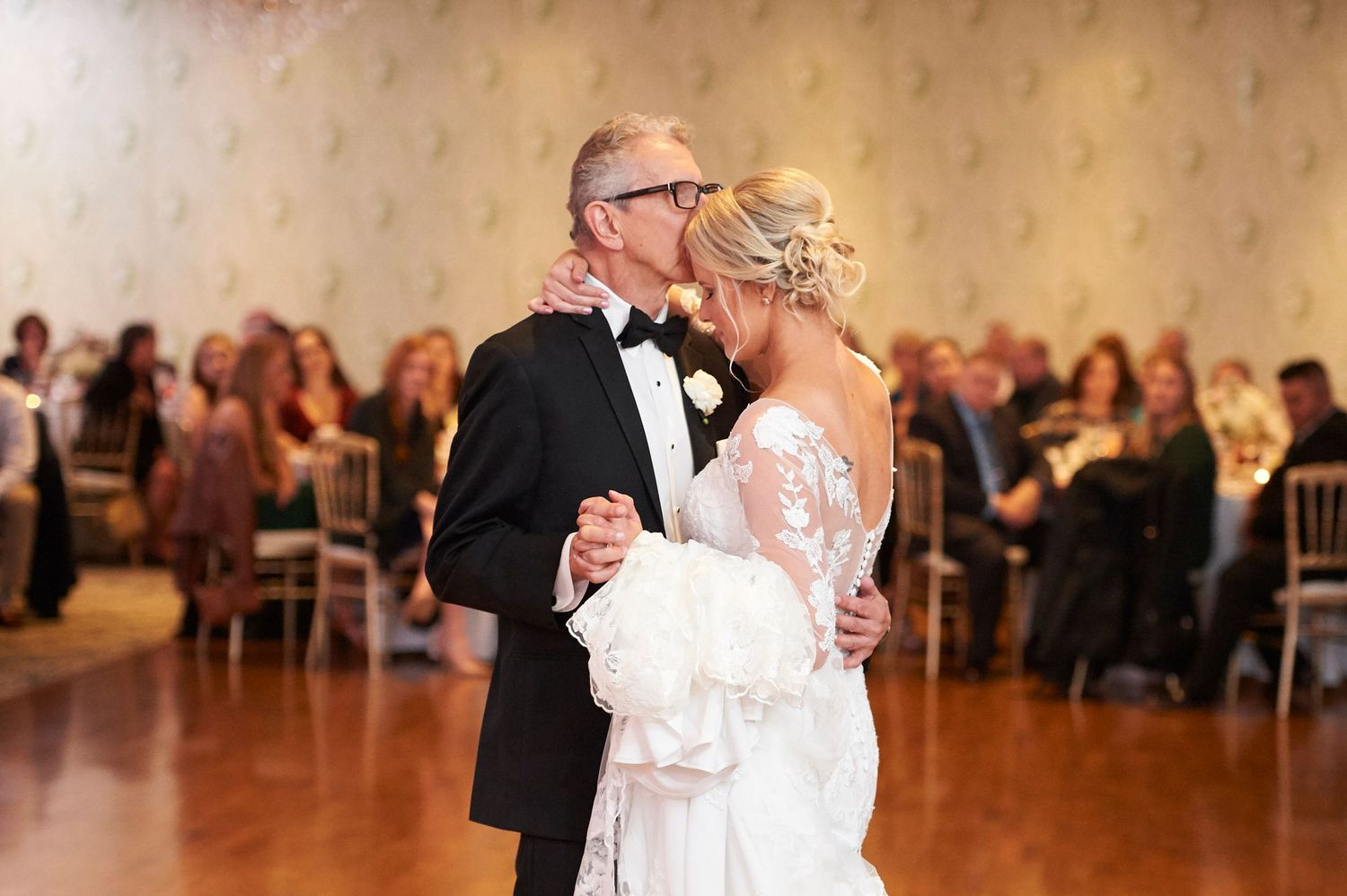 father daughter first dance at Bucks Hotel wedding photo