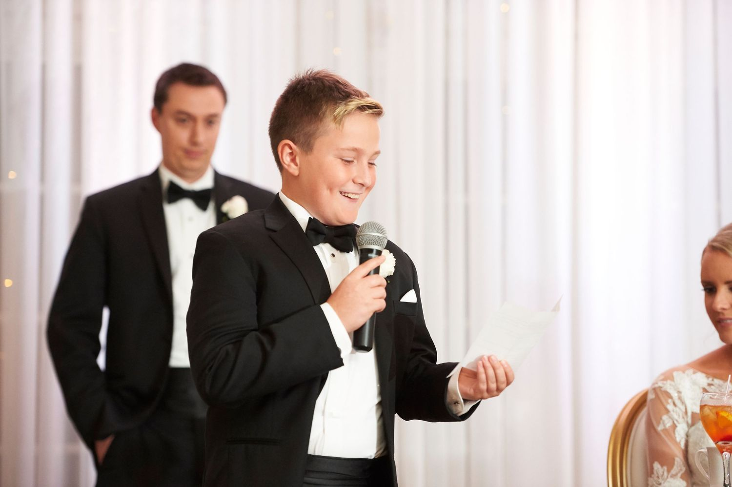 groom's little brother makes a speech at Bucks hotel wedding photo