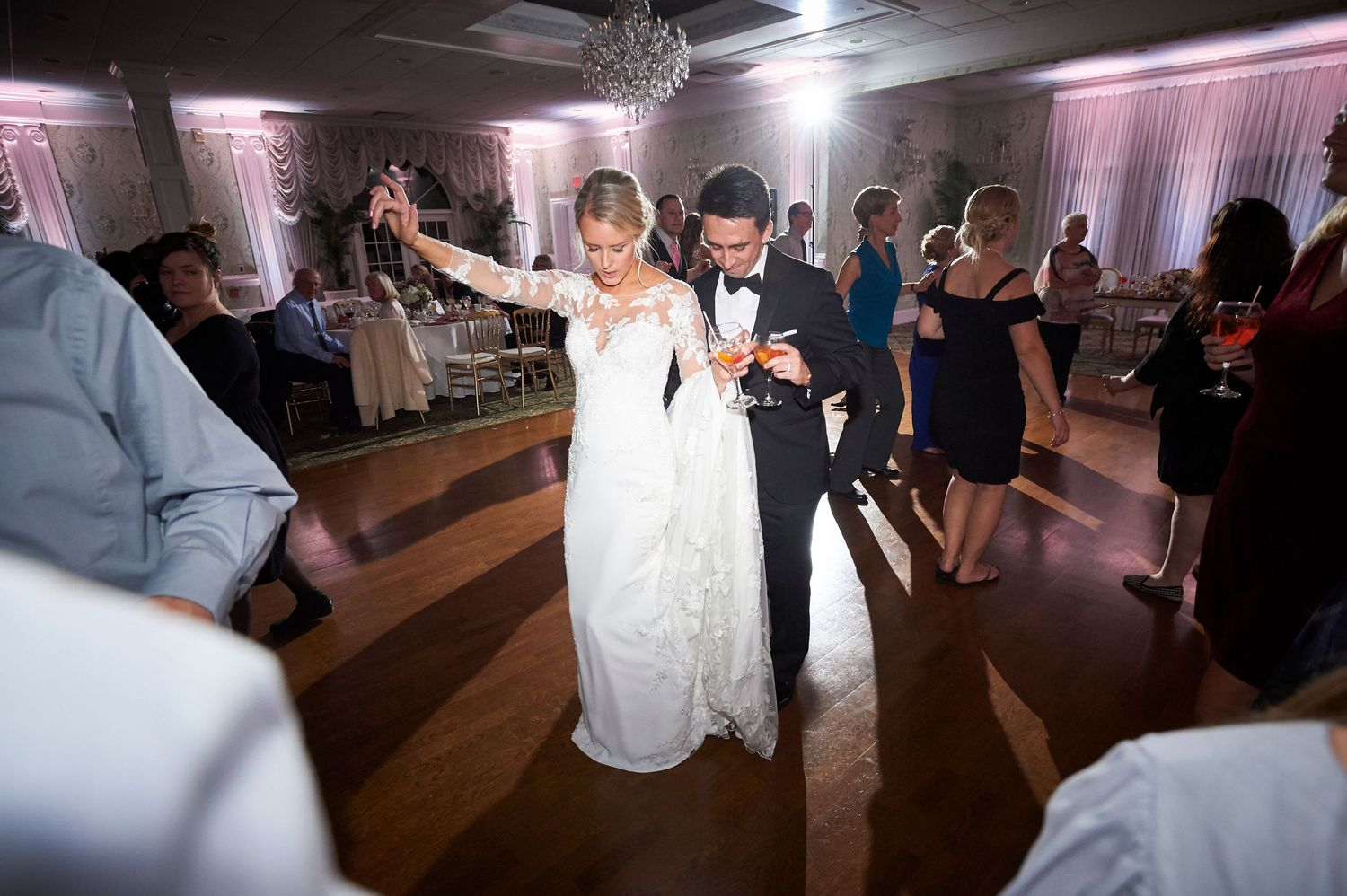 bride and groom dance during the reception at Bucks hotel wedding photo