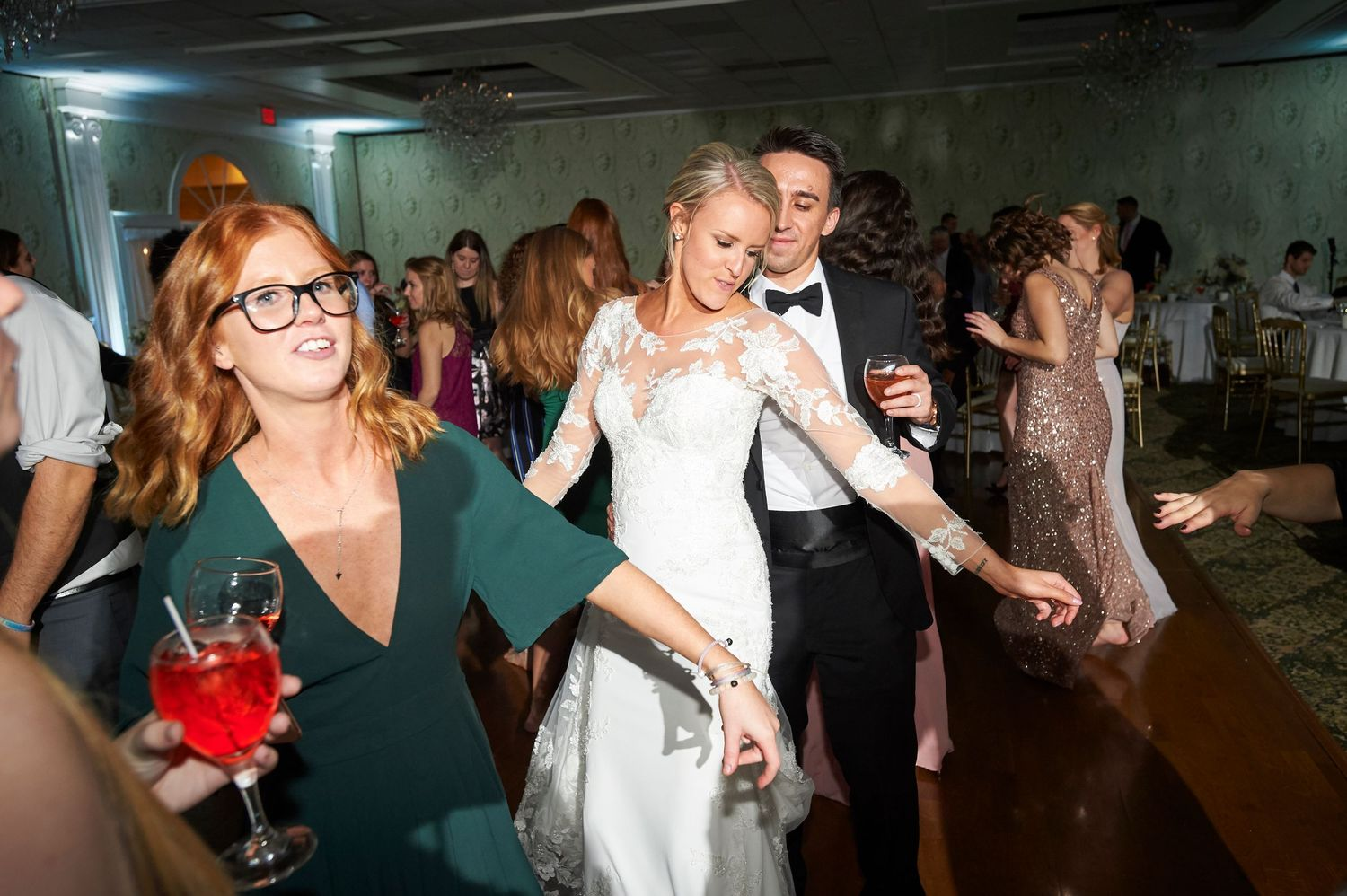 bride and groom dancing during reception at Bucks hotel wedding photo