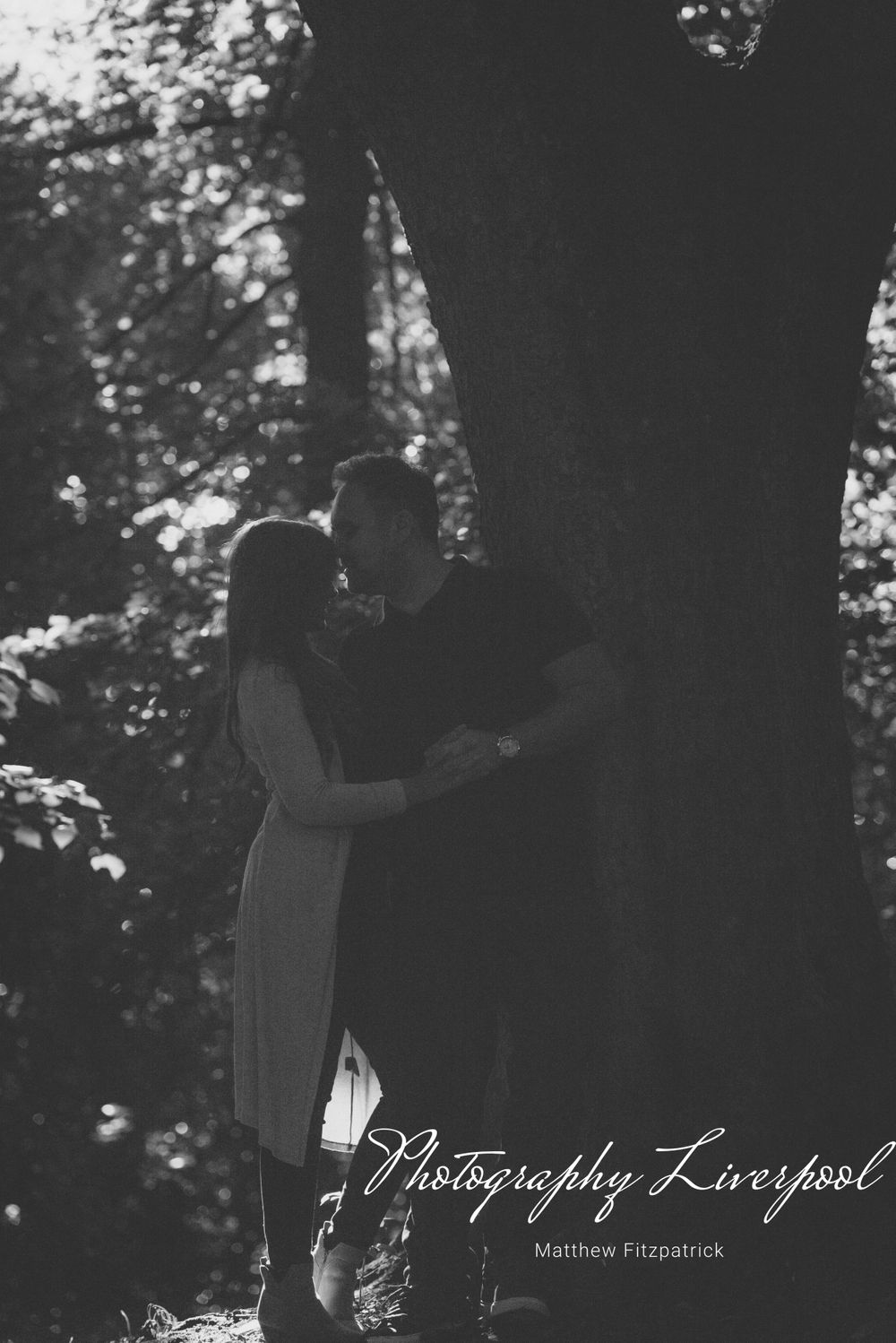 Black & White Naturally posed engagement photography at Sefton Park by Photography Liverpool Wedding Photographer