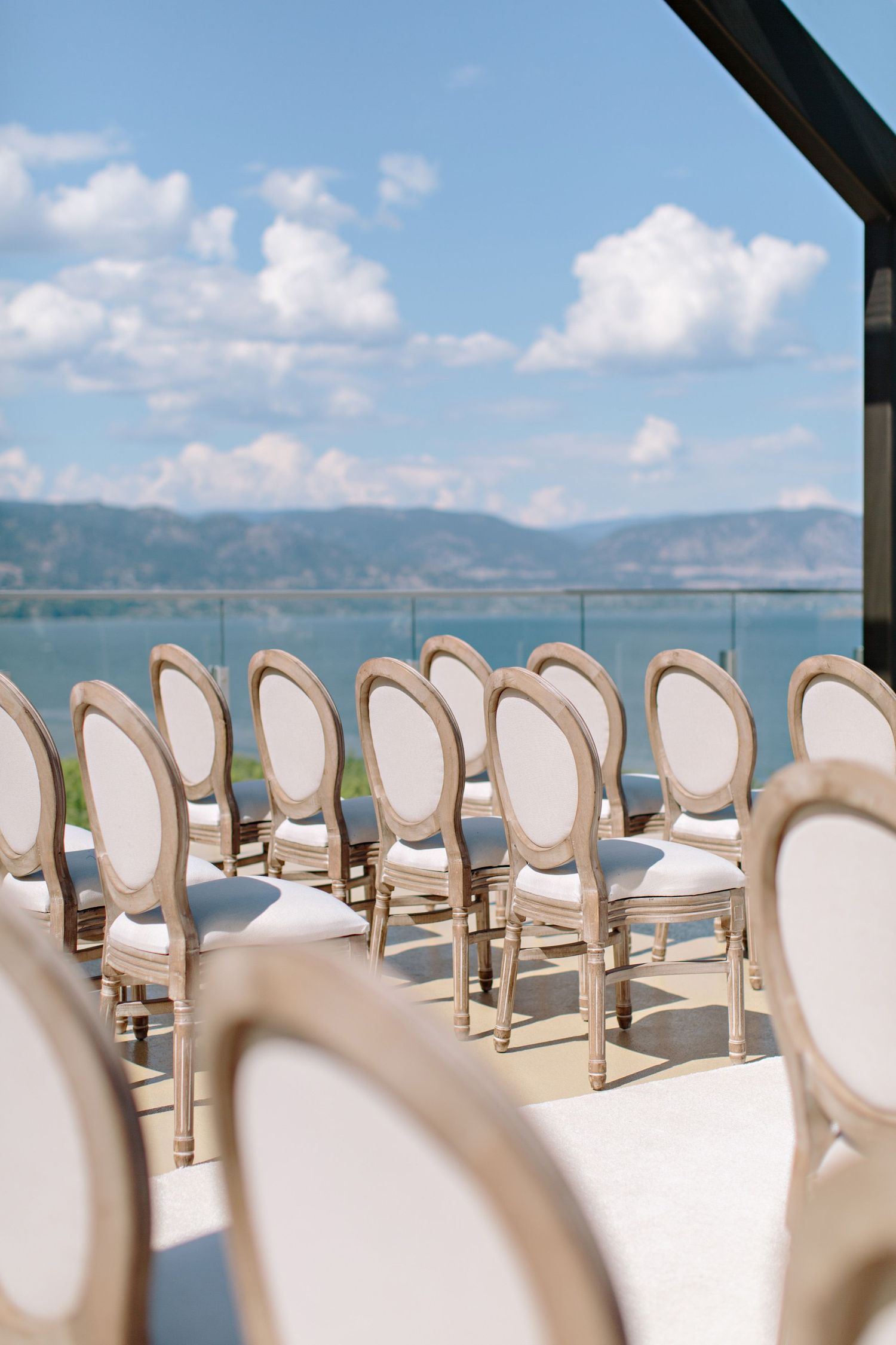 white cloth wood wedding chairs