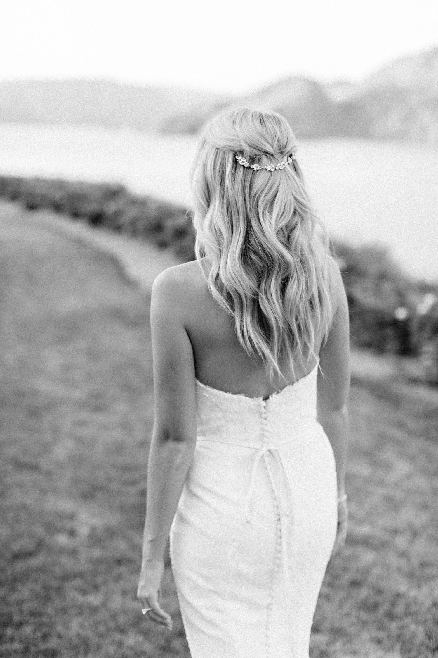 back of wedding dress and hair piece