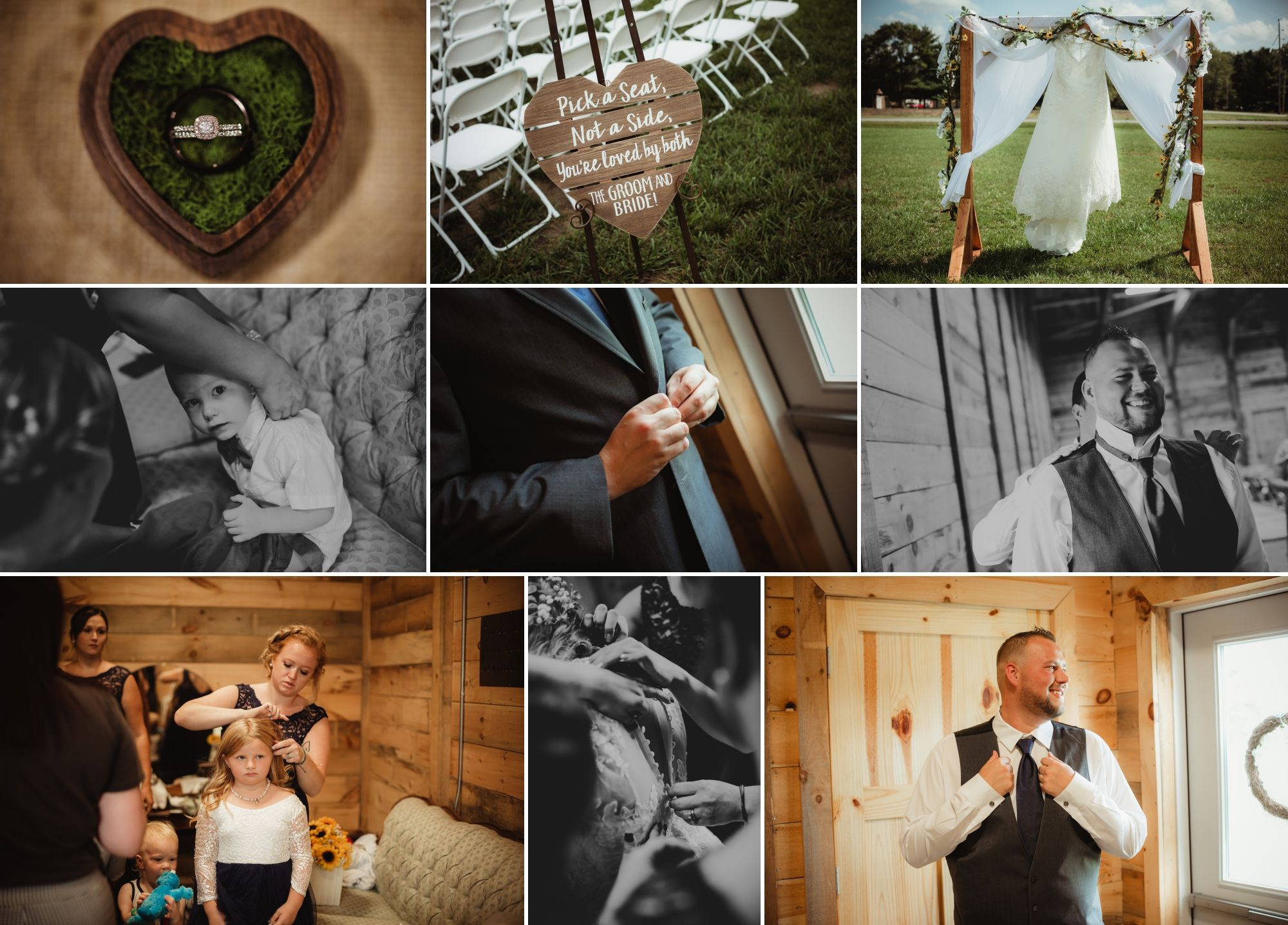 Collage of wedding rings, wedding dress, and bride and groom getting ready.
