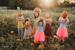 family, cousins, pumpkins, sunset, girls