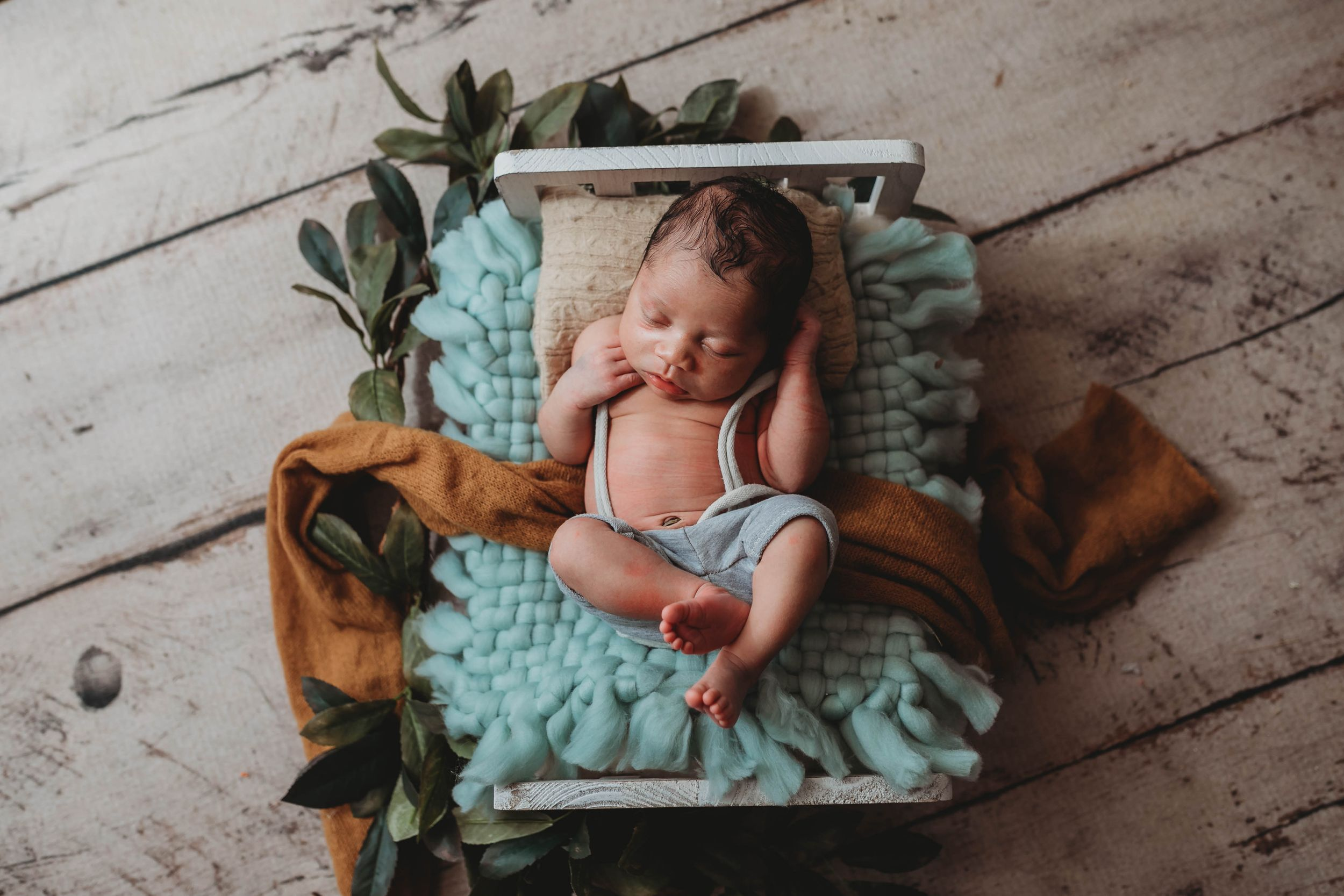 newborn session in Centralia, IL studio session, baby boy, newborn bed, foliage,