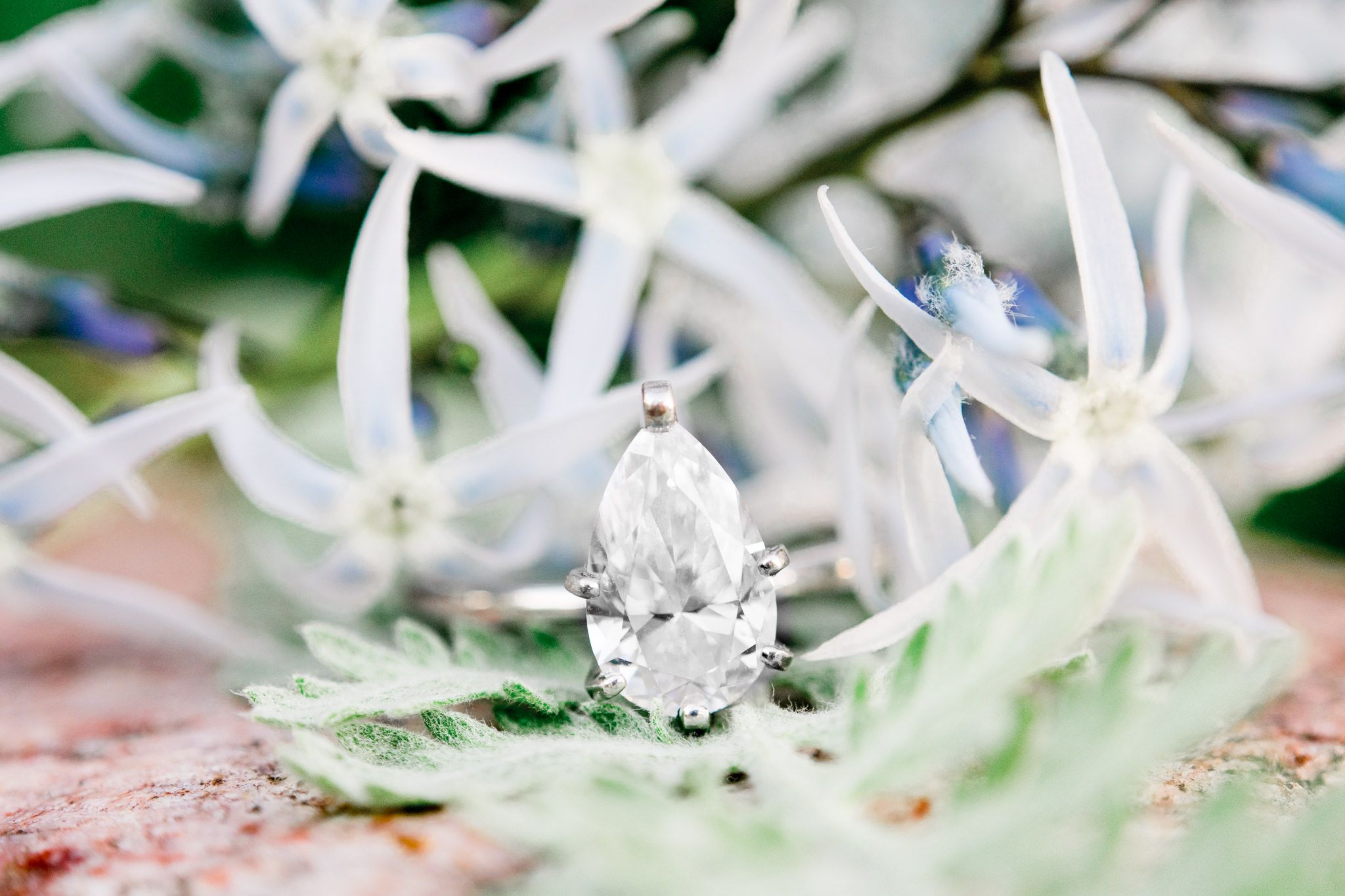 pear shaped engagement ring sitting on rock with pale blue flowers