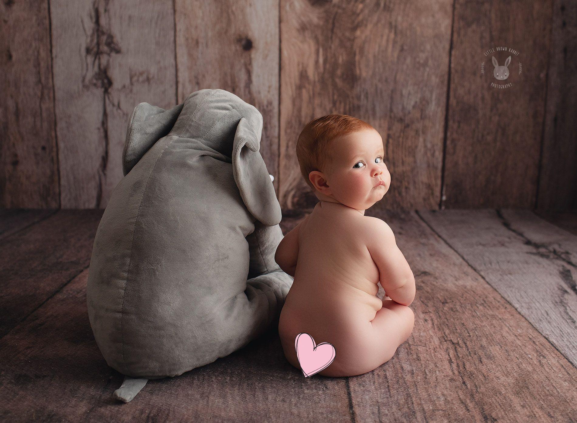 Little Brown Rabbit Photography - Baby photographer in Perth - red head baby next to toy elephant
