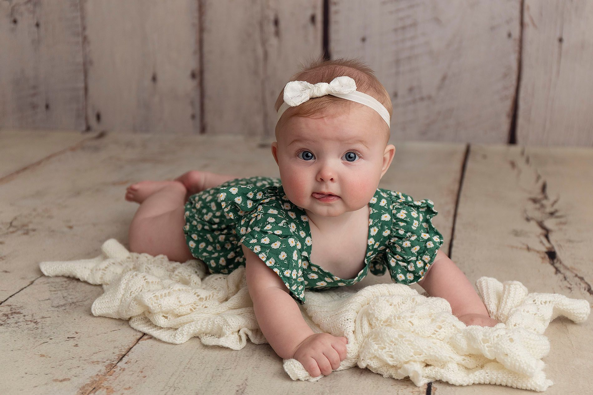 Little Brown Rabbit Photography - Baby photographer in Perth - 6 month old girl in green romper