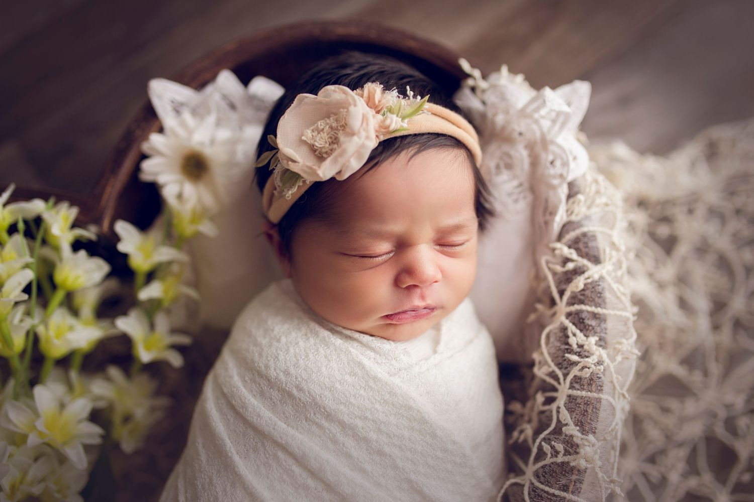 newborn baby girl close up lace heart prop