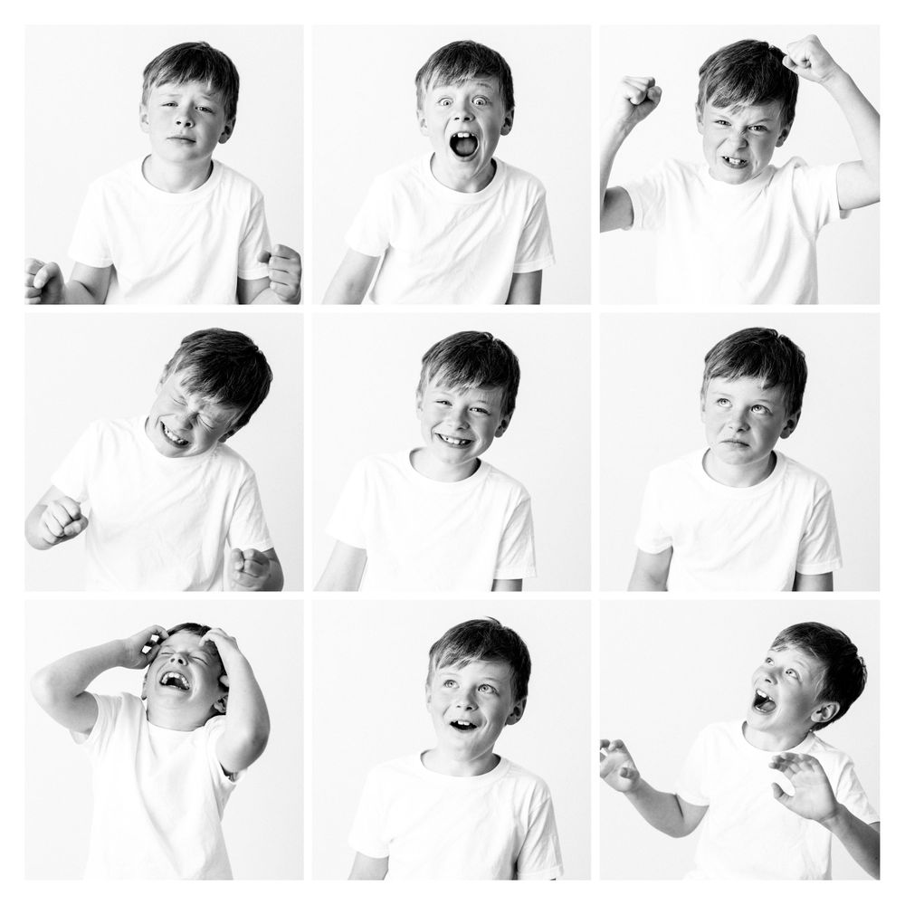 collage of a boy with 9 different expressions