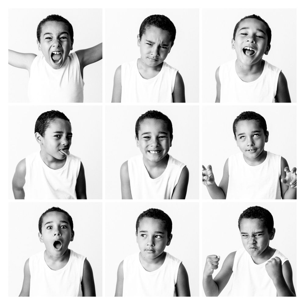 collage of boy's expressions