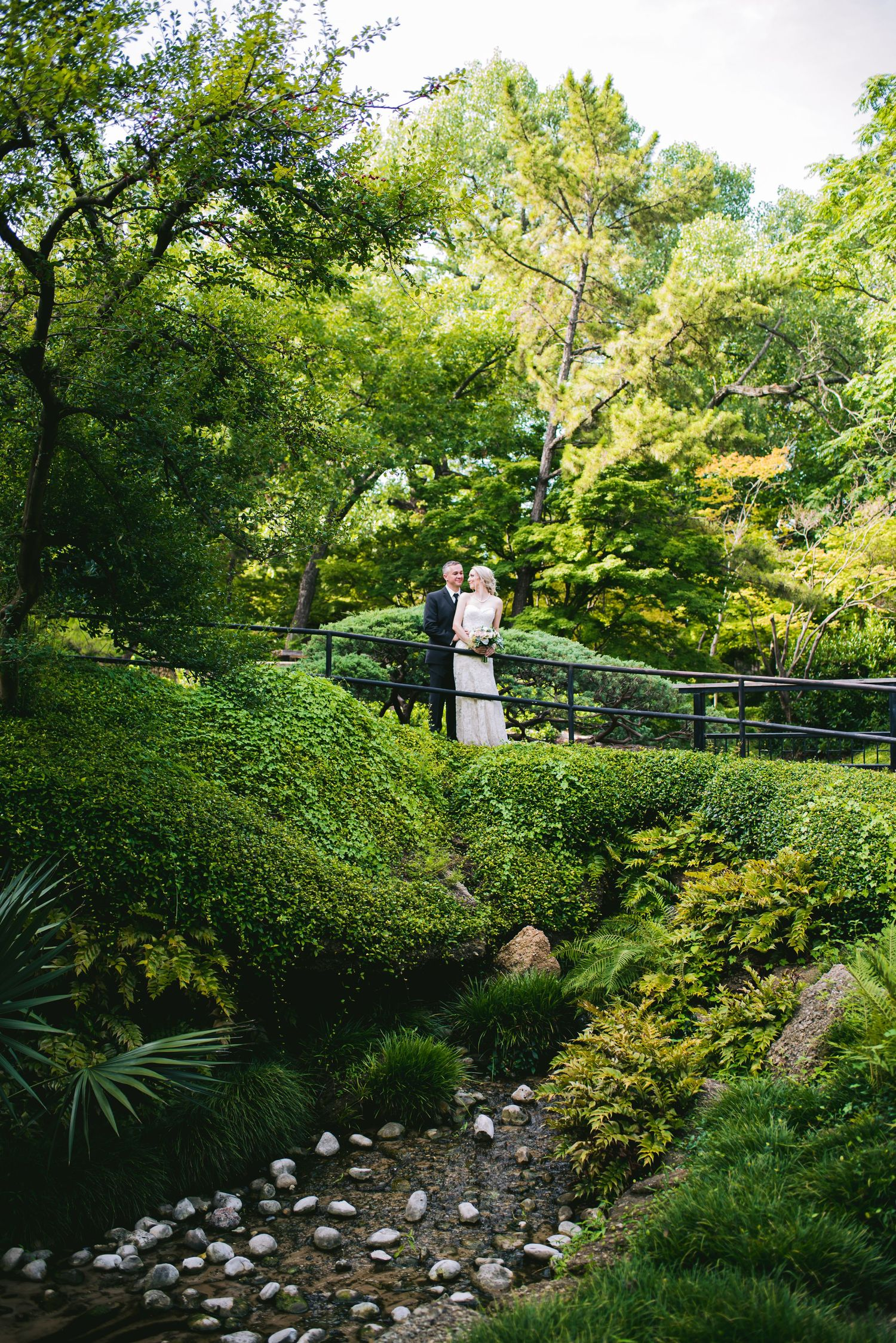 wedding photo at The Japanese Garden — Fort Worth Botanic Garden with the Dallas wedding photographer