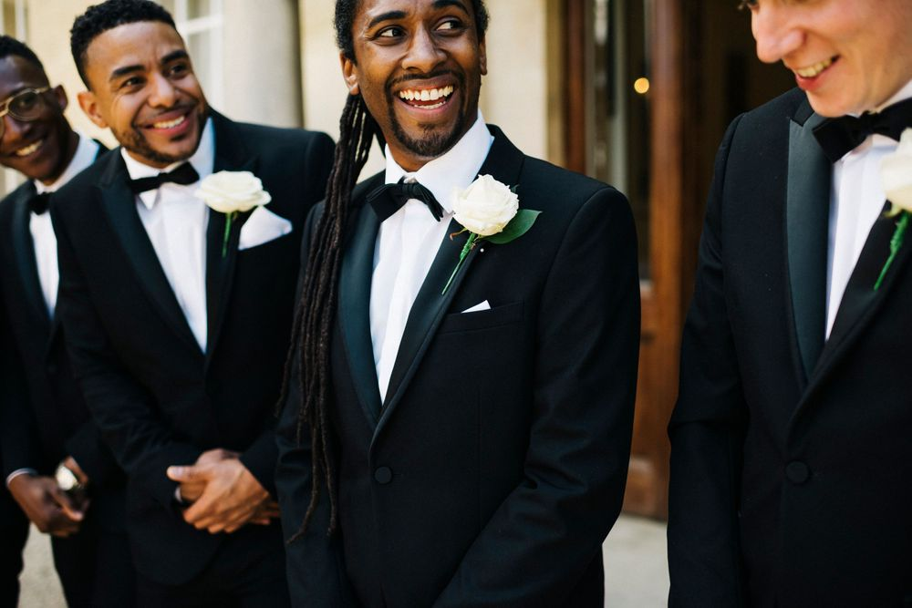 Black tie wedding, handsome groom, groom and groomsmen, cotswolds wedding venue, groom with dreadlocks