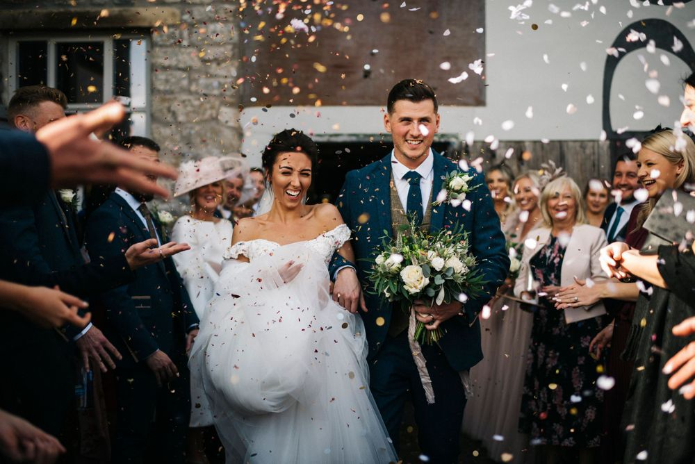 Holmes Mill wedding, Holmes mill confetti shot, clitheroe wedding photographer, Ribble Valley wedding venue, industrial