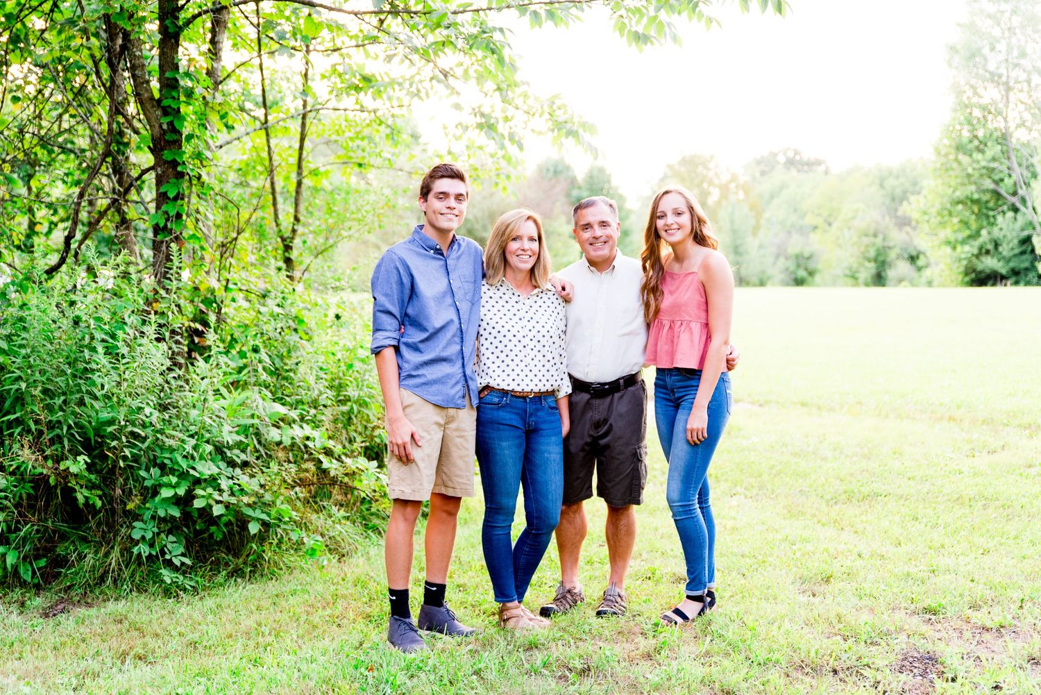 family, colorful, standing, smiling, woods, Cincinnati OH