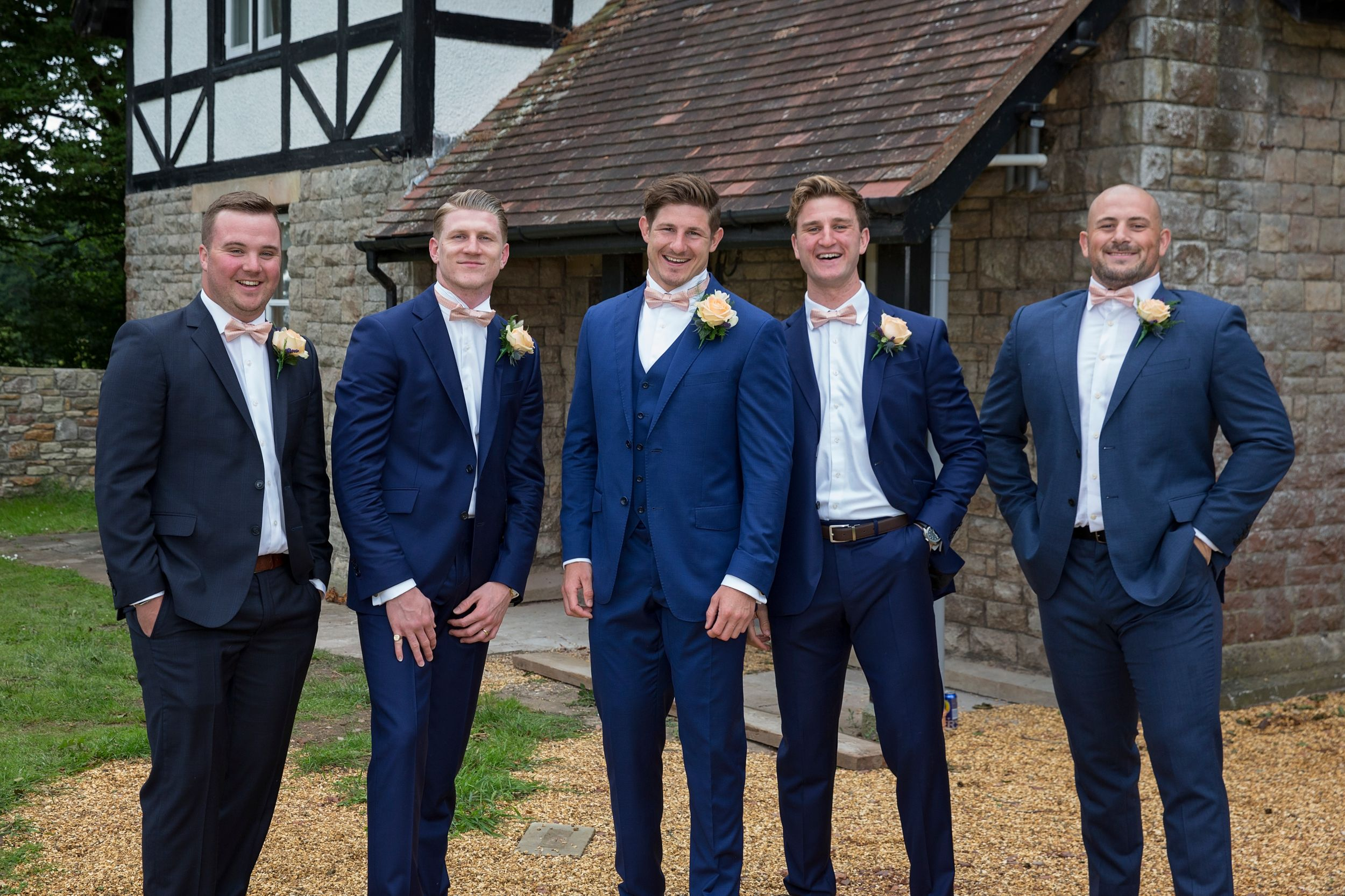 The Groom and groomsmen at Cottage at St Tewdrics House