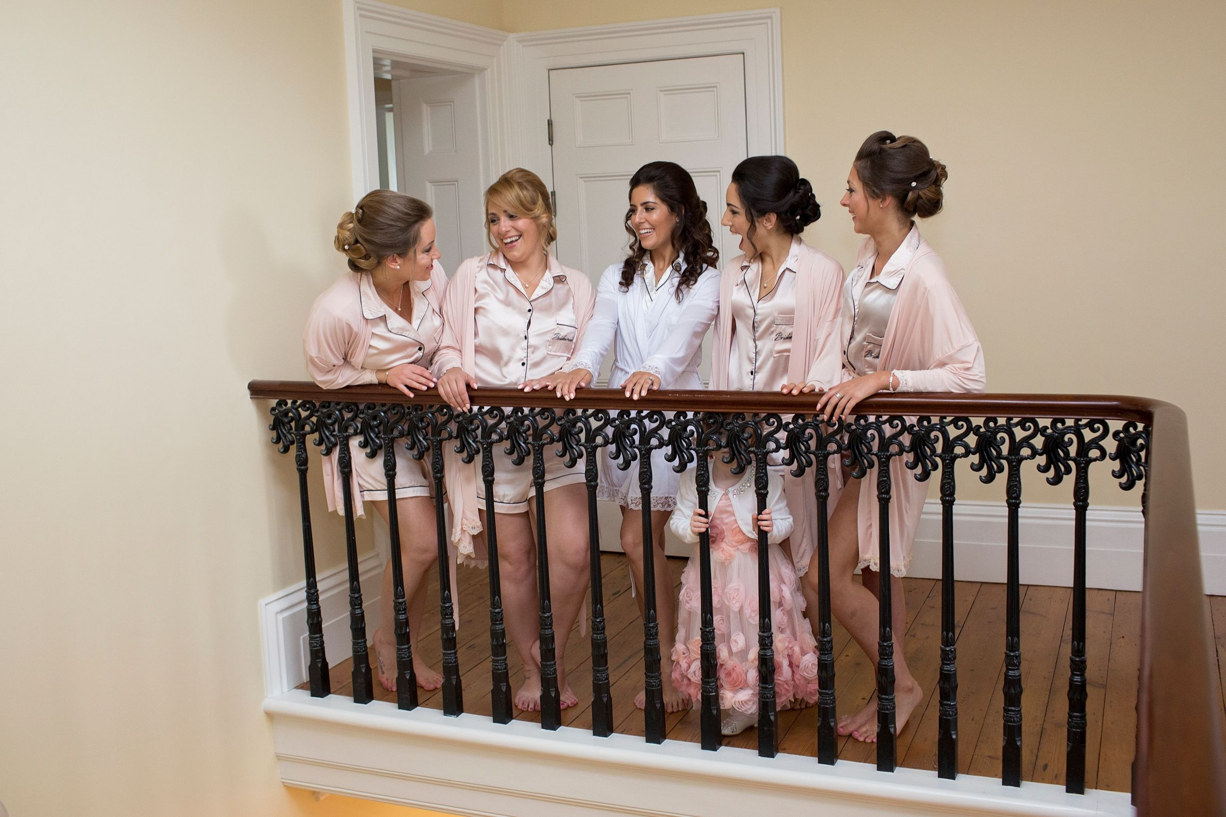 Bride and bridesmaids getting ready at St Tewdrics House