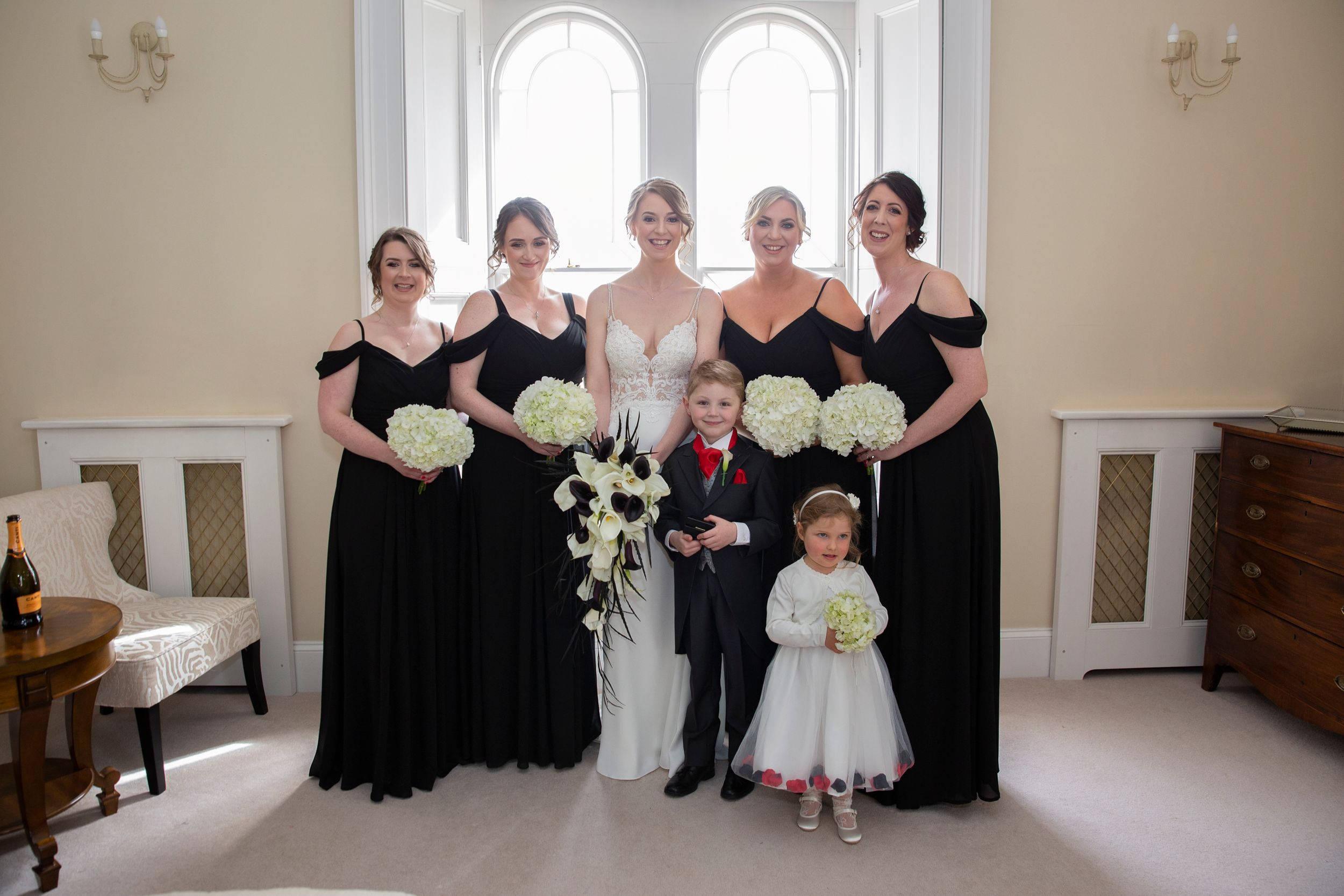 Bride and her Bridesmaids at St Tewdrics House Chepstow