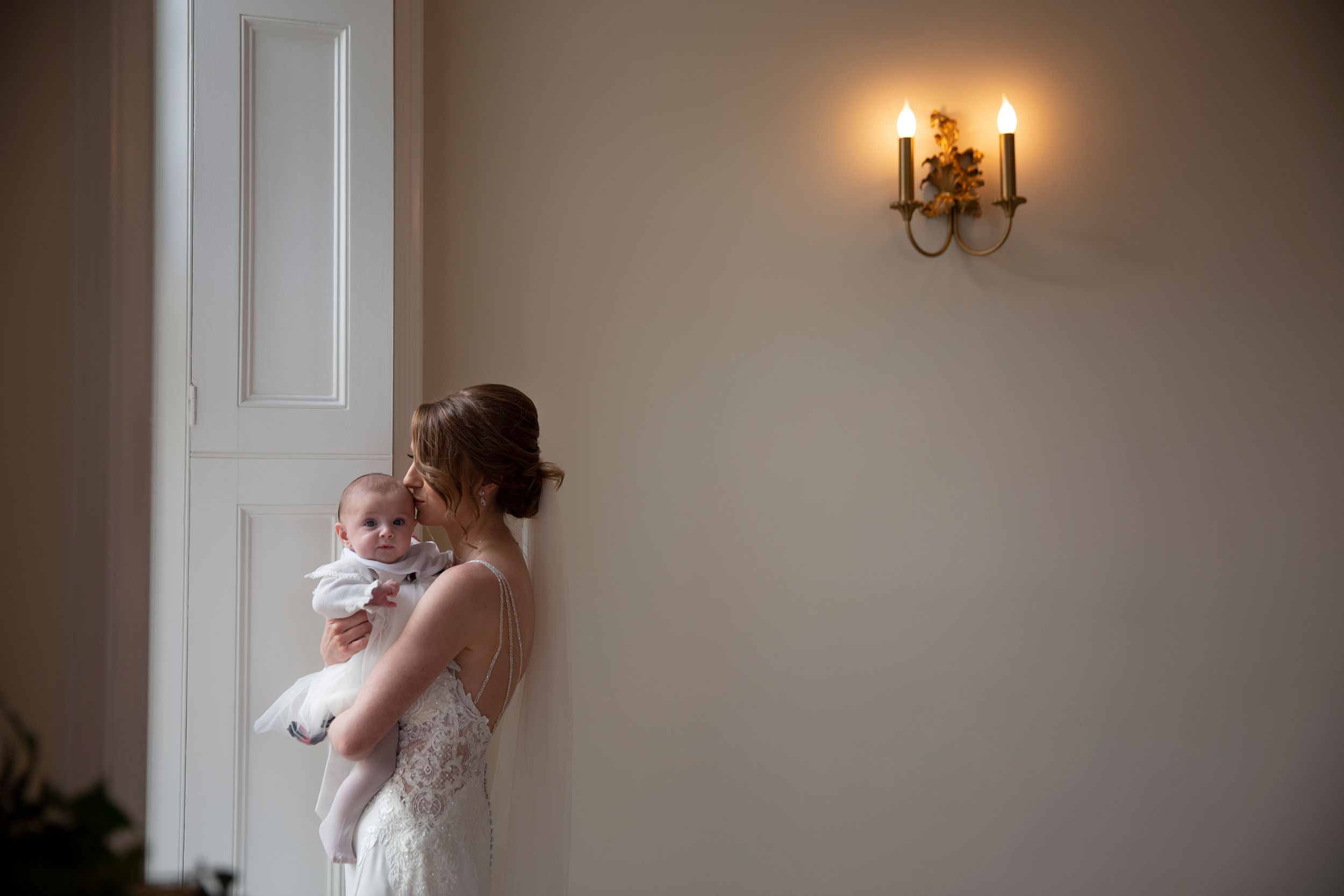 Bride and her baby girl at St Tewdrics House