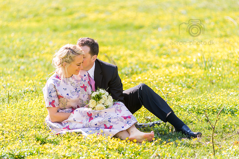 Wedding couple on a field of yellow flowers.