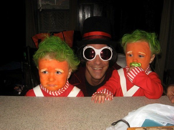 oompa loompa kids in costumes sitting at table will willy wonka