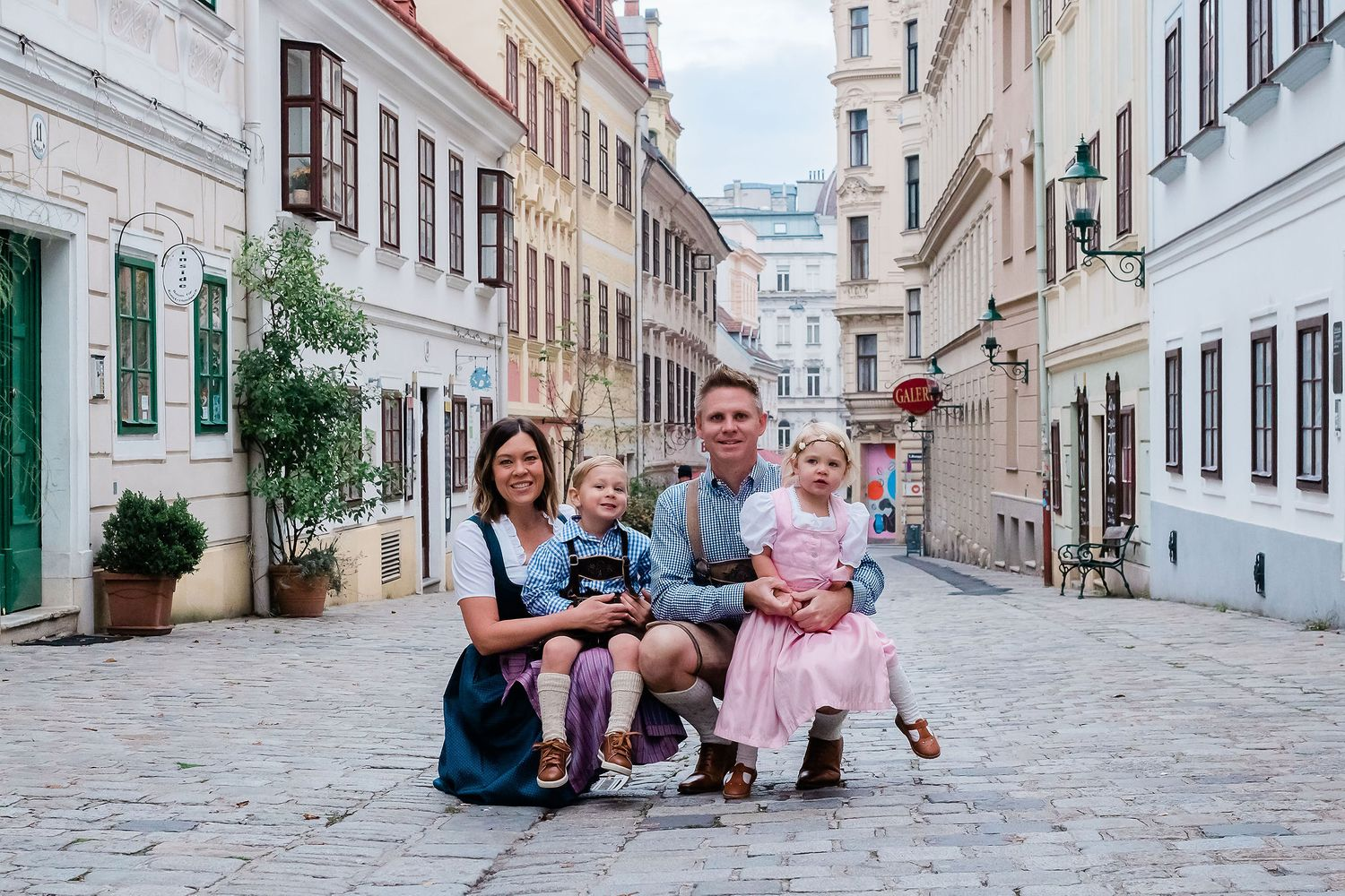 Family Spittelberggasse  7th district  Vienna wearing traditional outfit