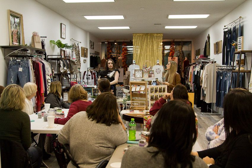 Sip and Stamp party Liv & Rory explaining to attending ladies