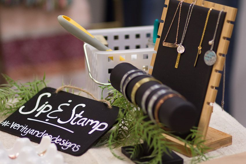Sip and Stamp party Liv & Rory finished jewelry for inspiration
