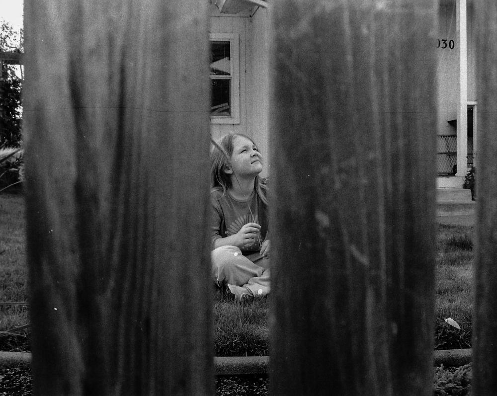 between fence posts girl playing in yard