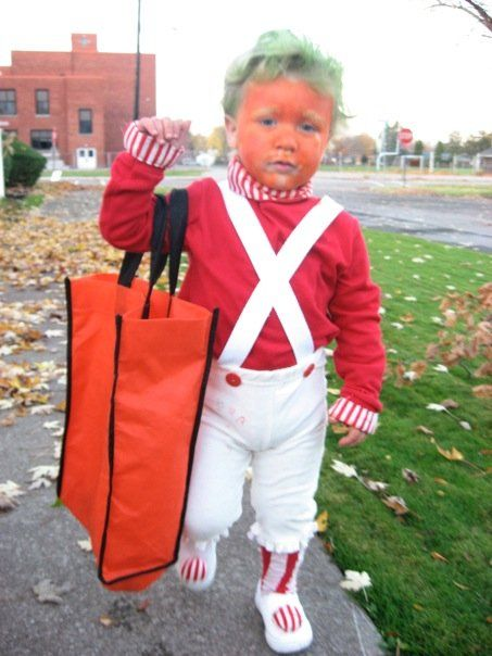 toddler dressed as an oompa loompa for halloween