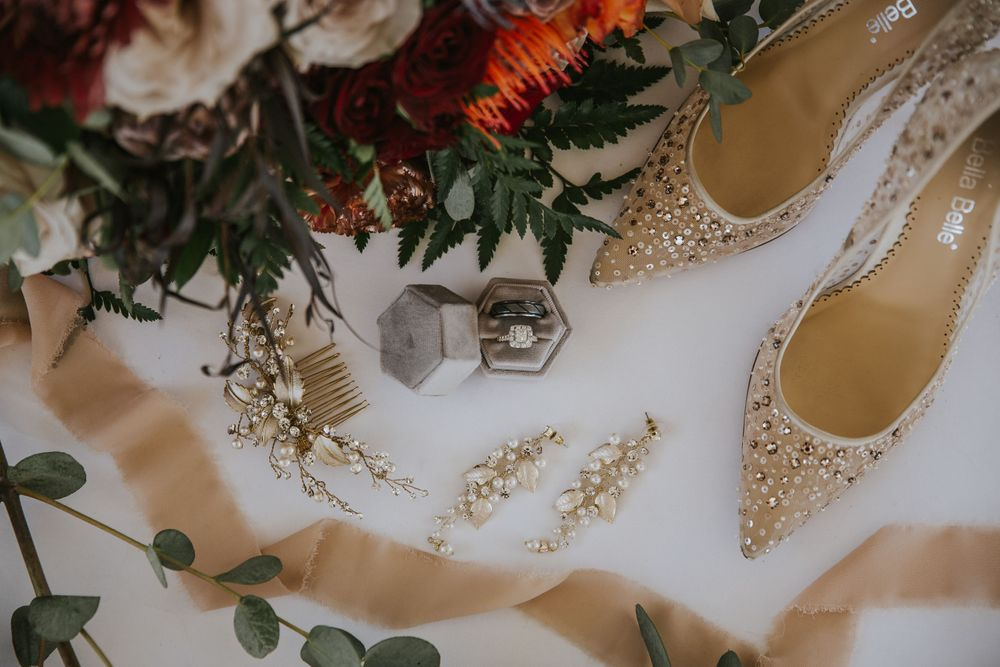 rebecca skidgel photography styled wedding shoot scribner bend sacramento bella belle shoes flat lay photo rings ribbons