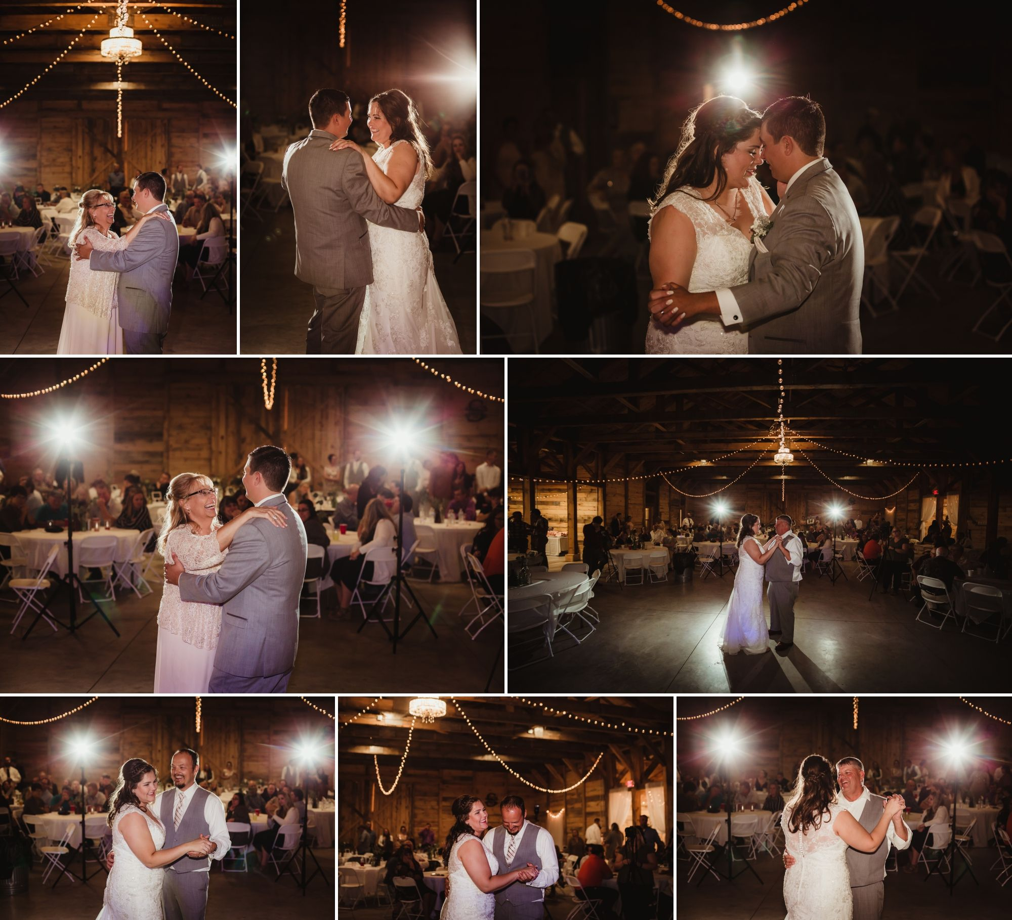 Collage of all of the formal dances inside the barn. Lights are strung from the ceiling.