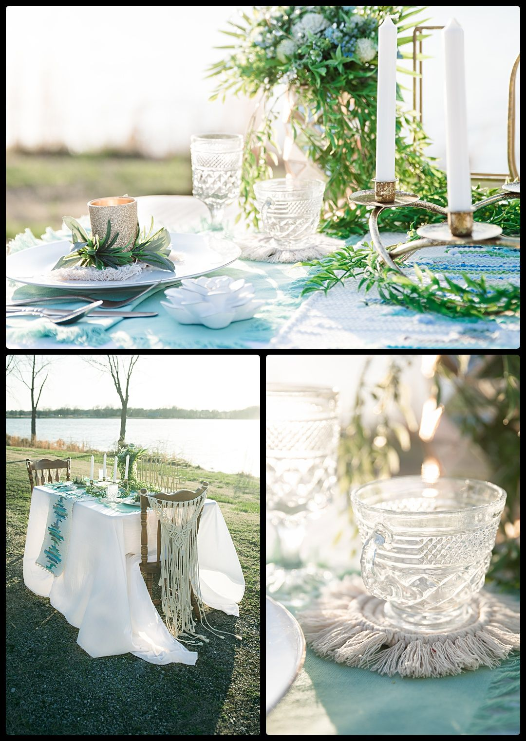 Boho wedding day details greenery with crystal dishes and gold candleholders