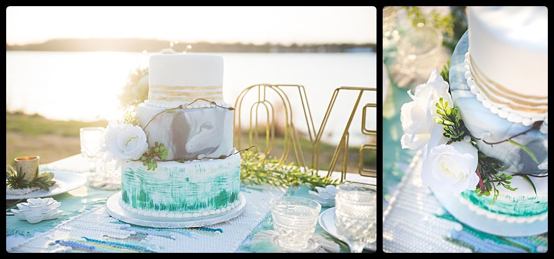 Boho Wedding Cake Aqua and Gold