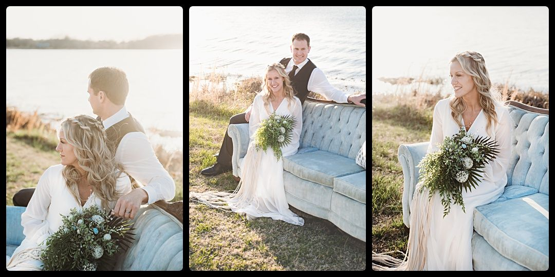 Boho Wedding Couple on couch with greenery bouquet