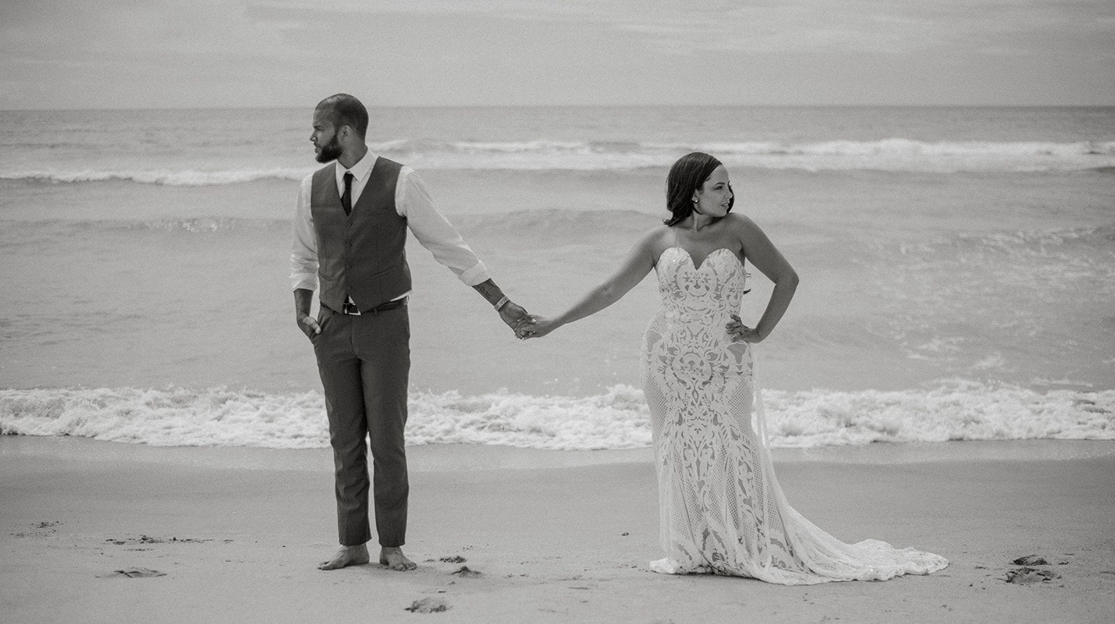 beach elopement videographer emerald isle wedding