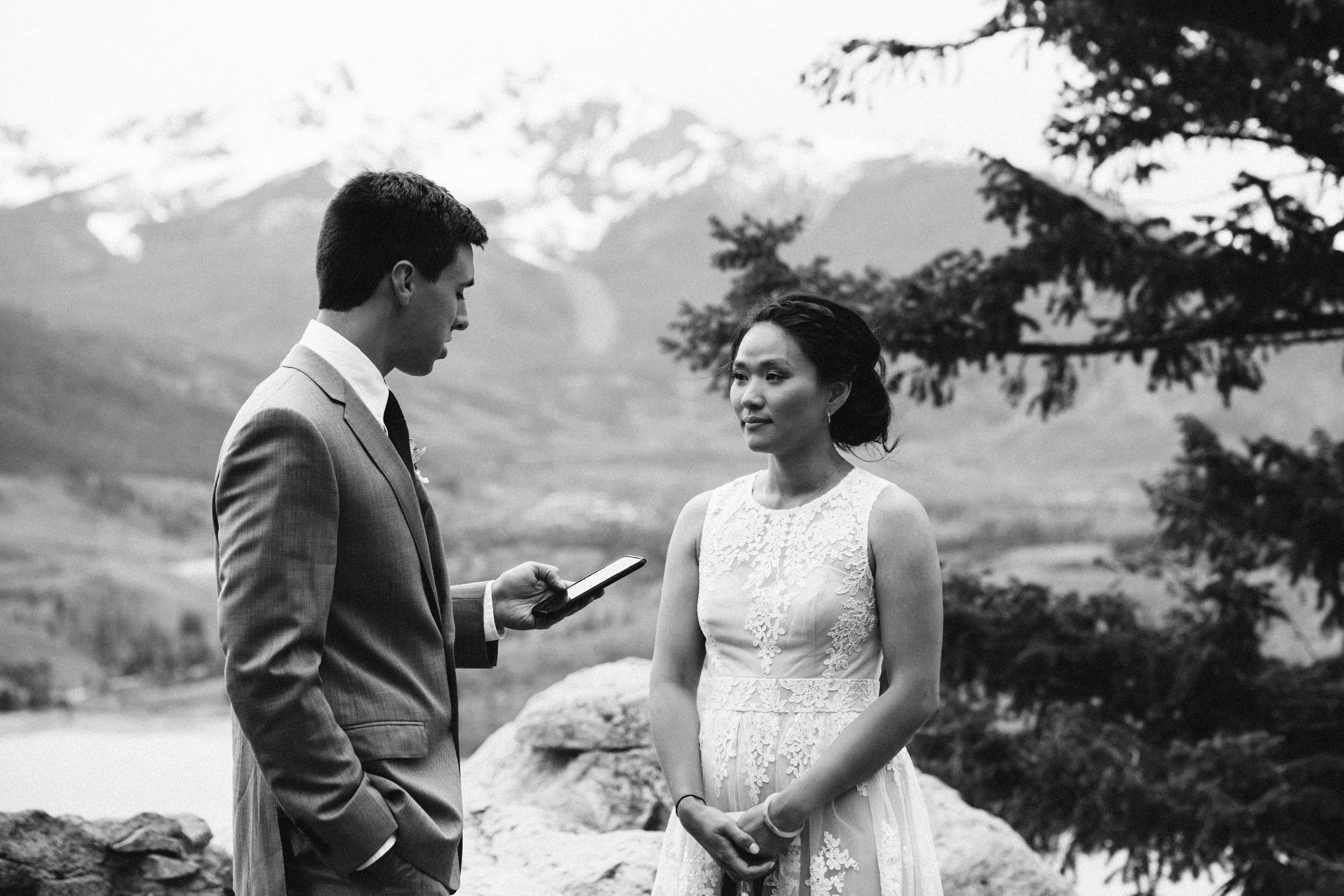 Emotional vow exchange in Colorado mountain wedding