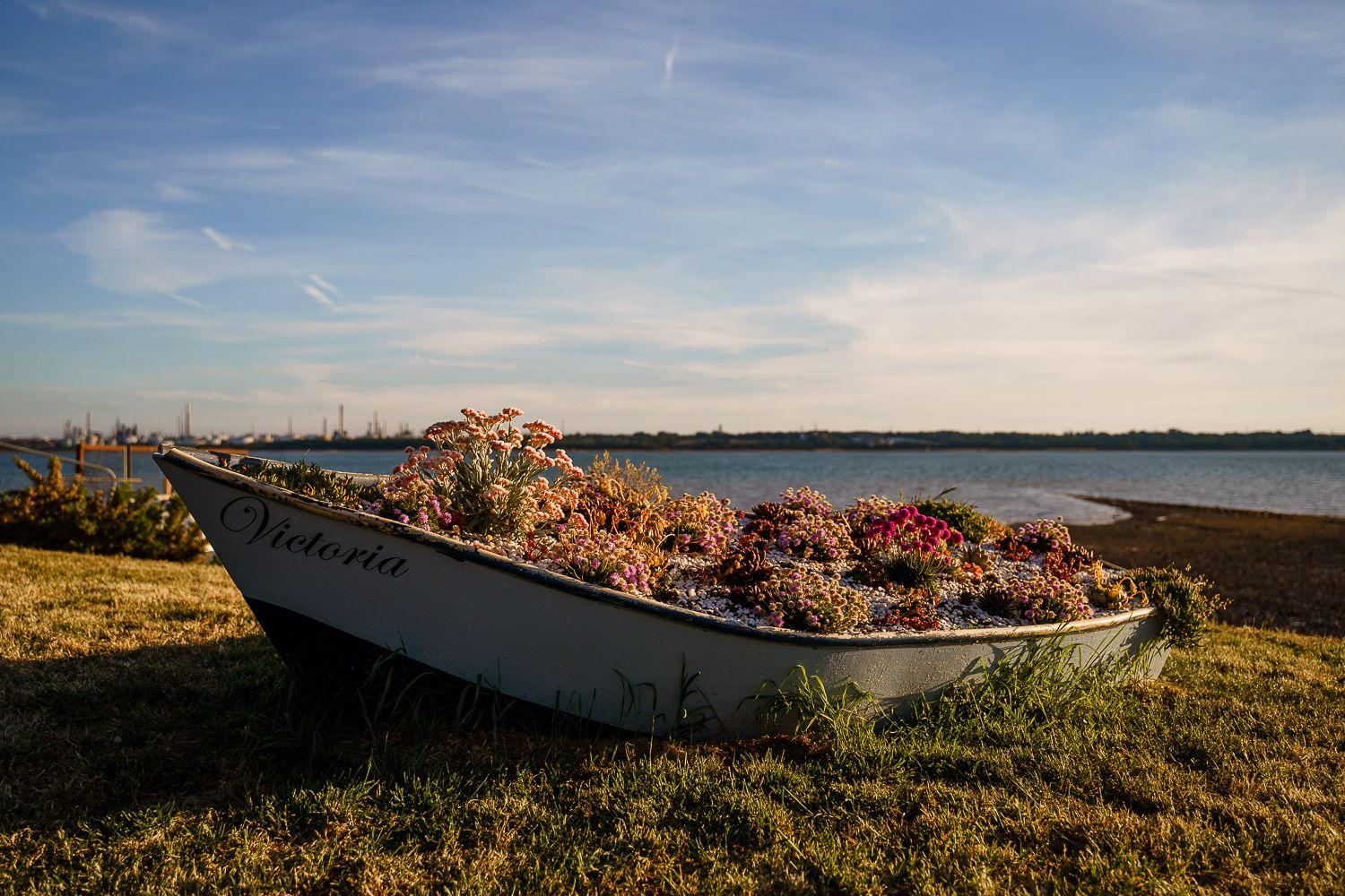 A row boat on the grass in front of the sea full of flowers.