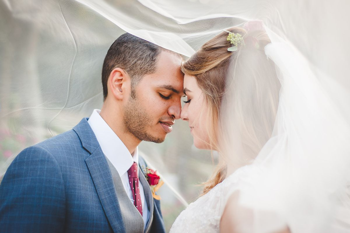 Bride and Groom foreheads together under veil Central Florida Wedding Photographer