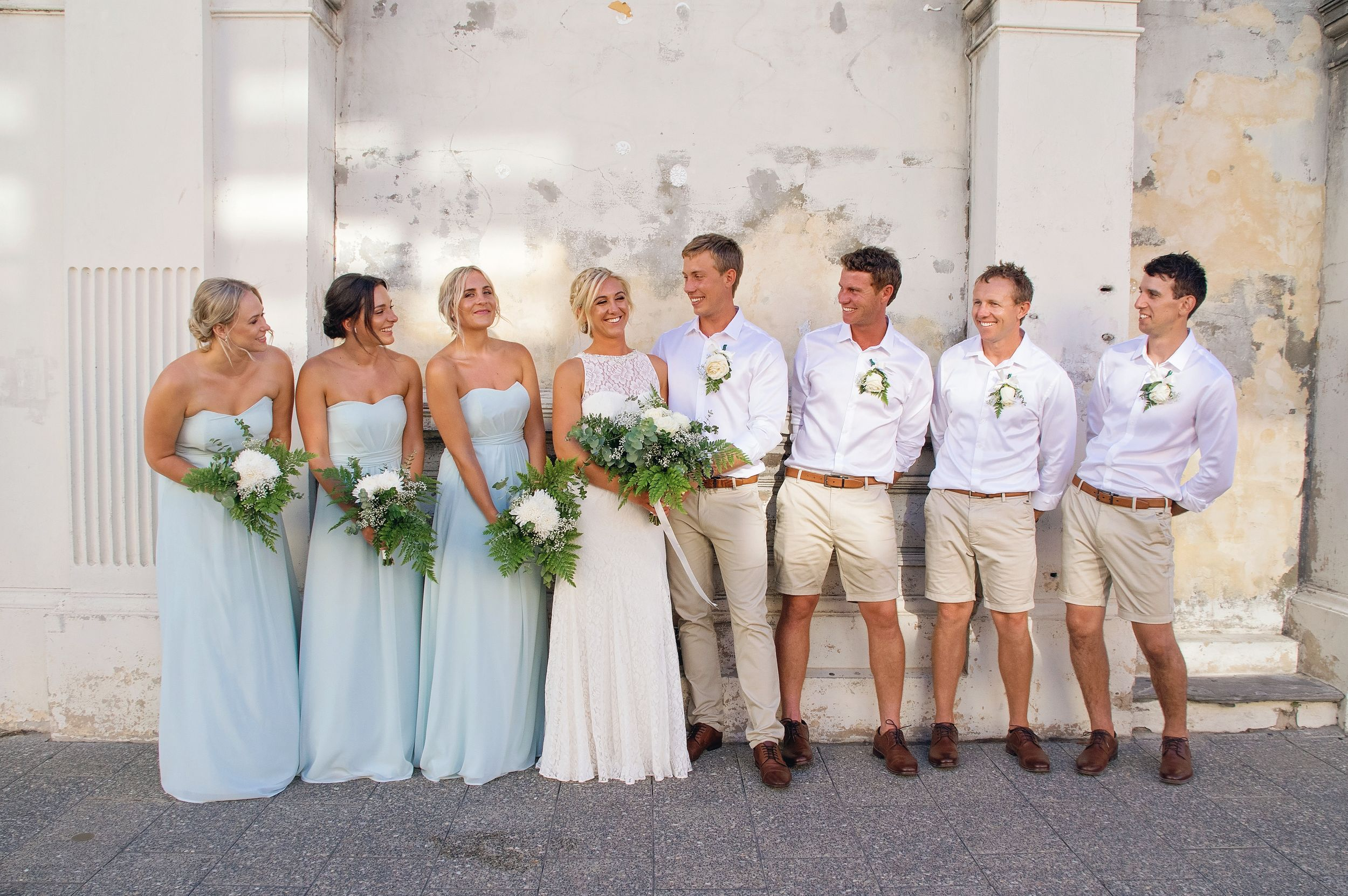 bridal party smiling at each other in fremantle