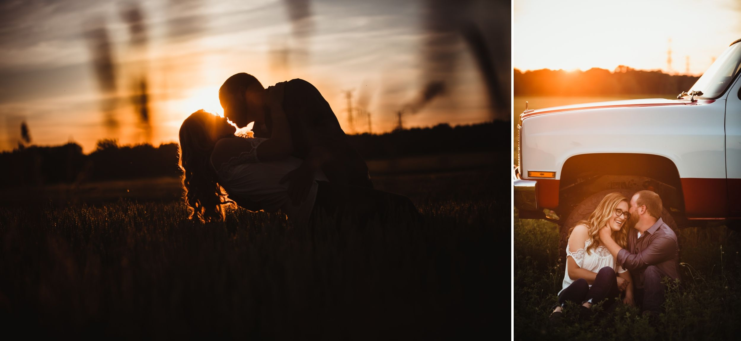 A silhouette of a man dipping a woman in a field at sunset then they sit in front of a truck laughing.