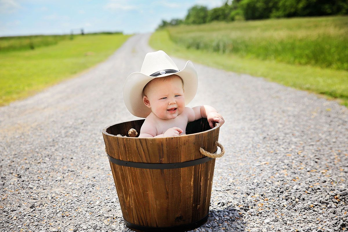 imagination photography rustic baby in barrel